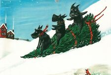 LE #2 4X6 POSTCARD RYTA CHRISTMAS DAY SCOTTY SCOTTISH TERRIER TREE WINTER ART