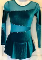 GK LgSLV PEACOCK VELVET ICE SKATE ADULT X-SMALL MESH INSERTS JA DRESS AXS NWT!!