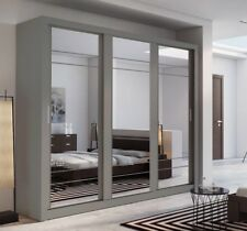 Brand New Modern Bedroom 3 Sliding Door Mirror Wardrobe ARTI 2 250cm Grey