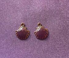 2 Beautiful Gold Tone colour Zinc Alloy Enamel Purple Shell Pendant Charm