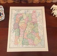 Original 1890 Antique Map VERMONT NEW HAMPSHIRE Essex Barre Nashua Concord Derry