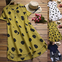 Women Lady Polka Dot O-Neck Layered Short Sleeve Button Blouse Long Shirt Top US