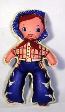 1940'S Vtg Puffy Vinyl Boy Doll - Reversible Cowboy N Farmer, Ex Condition