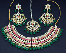 Kundan chocker Haar Set Bollywood Indian Jewerelly Gold plated necklace earring