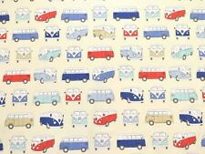 FRYETTS CAMPERVAN BLUE OFFICIAL LICENSED 100% PANAMA COTTON FABRIC PER METRE