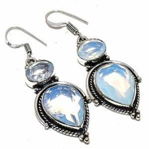 """Milky Opal Gemstone Handmade Ethnic Silver Jewelry Earring 2.2"""" ELG4382"""