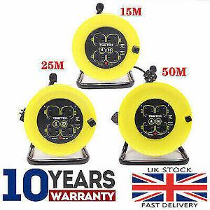 Extension Lead Reel Socket 4 Gang Way UK Plug 15M/25M/50M 13A 230V Heavy Duty