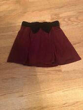 Women's XS Skirt Burgundy With Black Bow