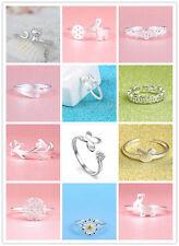 Shiny 925 Sterling Silver PL Adjustable Finger Open Band Ring Women Girl Gift