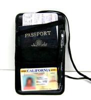 Leather Passport Cover Neck Strap ID Holder Card Wallet Travel Organizer