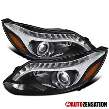 For 2012-2014 Ford Focus R8 LED DRL Black Clear Halo Projector Headlights Lamps