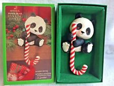 Vintage Hallmark Panda Bear Stocking Hanger; Panda w Candy Cane, Original Box