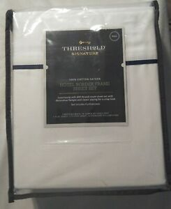 "Threshold 600TC Full Hotel Border White Navy Sheet Set 100% Cotton 6Pc 18"" Deep"