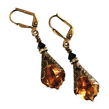 Vintage Antique Bronze Chili Copper Baroque Earrings with Crystal by Swarovski
