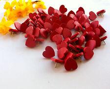 50 Red Thumb Tacks Push Pins Wood Hearts for Weddings Office Decor 3/4 inch