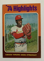1975 Bob Gibson # 3 '74 Highlights Topps Baseball Card St. Louis Cardinals HOF
