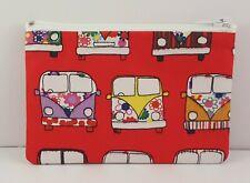 Retro Camper Van Red Fabric Handmade Zippy Coin Money Purse Storage Pouch
