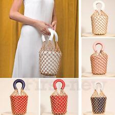 Lady Straw Bag Knotting Fish Net Bucket Bag Beach Handbag Leathere Flowerpot Bag