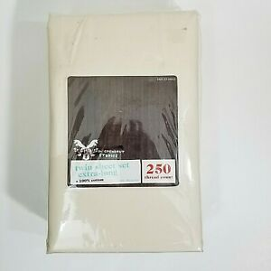 Twin Sheet Set  Extra Long  Solid Ivory 250TC 100% Cotton Independent Studies