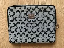 COACH NAVY BLUE AND GREY SIGNATURE FABRIC IPAD CASE - NEW