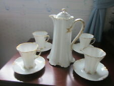 Haviland Limoges Chocolate Set, white and gold, blank 17
