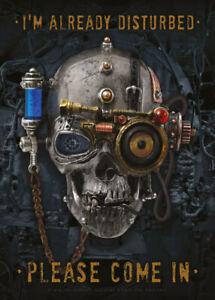 Already Disturbed Alchemy Gothic Steampunk Skull Small Metal/Steel Wall Sign