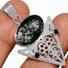 Artisan - Black Tourmaline In Quartz & Black Onyx 925 Silver Pendant AP223575