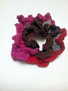 Fluffy Red CROCHET FLOWER Elastic HAIR BUN Holder PonyTail Scrunchy Scrunchies