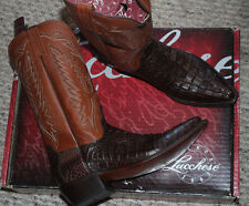 LUCCHESE MEN'S BOOTS M250054 CAIMAN TAIL #9us $599 BARREL BROWN