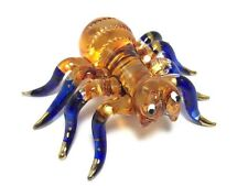 TINY CRYSTAL SPIDER HAND BLOWN CLEAR GLASS ART SPIDER FIGURINE ANIMAL COLLECTION