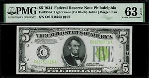 1934 $5 Federal Reserve Note Philadelphia Light Green Seal FR.1955-C PMG 63 EPQ