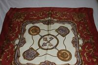 Vintage, 100% silk, hand-rolled, hand printed, classic prin scarf from the 1990s