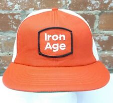 VTG Iron Age Work Boots Patch Red Green White Snapback Trucker Cap Hat