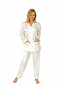 Damen Satin Pyjama Schlafanzug Klassik Durchgeknöpft Streifen 55792