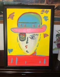 Peter Max Signed Acrylic on Canvas Painting of Zero Man
