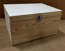 PINO Naturale Legno Storage Box rn131 24x17x13 CM Petto caso Trunk Fibbia Argento