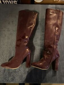 Just Fab Alcee Knee High Boots Size 8 Heeled New Slip On With A Zipper Burgundy