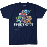 GRATEFUL DEAD-SPIRIT OF '76-BEAR-Wave The Flag-BLUE TSHIRT M, XL, 2X, 6X Limited