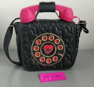 Betsy Johnson Pink Telephone with Faux Leather Black Crossbody Bag