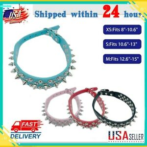 Fashionable Spiked Studded Rivets PU Leather Dog Collar for Small Pets Puppy @@