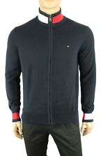NEW MENS TOMMY HILFIGER NAVY BLUE COLORBLOCK LOGO FULL ZIP SWEATER M $129