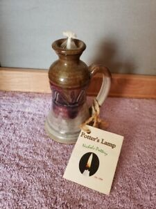 Nichols Pottery Oil Lamp Potter's Lamp Signed Dated 2010 North Carolina Seagrove