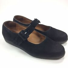 Beautifeel Women's 39 / 8 - 8.5 US Black Nubuck Mary Jane Buckle Wedge Shoes