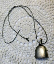 Vtg George WEBSTER Cowbell Bell Pendant Marked Sterling W Co Feathered Arrow