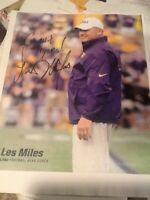 Les Miles Autograph 8x10 Signed Photo LSU Tigers Football National Title Coach!