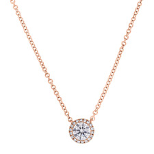 0.46 TCW 14K Rose Gold Natural Round Cut Diamond Solitaire Halo Pendant Necklace