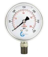 "2.5"" LIQUID FILLED PRESSURE GAUGE 0-300 PSI, STAINLESS STEEL CASE LOWER MOUNT"