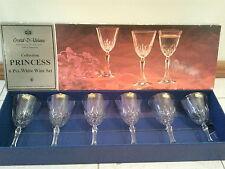 CRYSTAL D'ADRIANA PRINCESS COLLECTION 6 EUROPEAN FINE CRYSTAL WINE GLASS SET