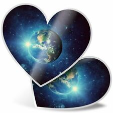 2 x Heart Stickers 10 cm - Planet Earth Space Moon  #8544