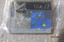 Vintage- Usps Siamese & Exotic Shorthair Cats Postage Stamp Pinback Metal Pin